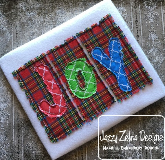 Joy Word Squares all with Raggedy Edge appliqué embroidery design - joy appliqué design - christmas appliqué design