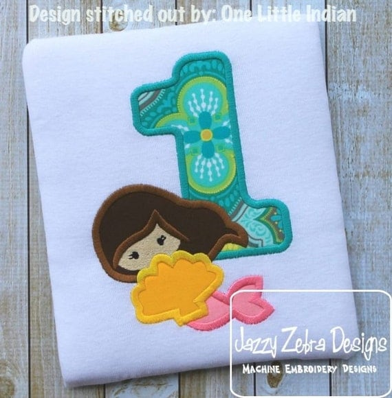 Mermaid One Appliqué Embroidery Design - 1st birthday appliqué design - one year old - first birthday appliqué design - birthday appliqué