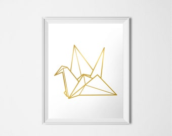 Gold Origami Crane, INSTANT DOWNLOAD, Gold Printable Art, Gold Print, Modern Minimalist Nursery Decor, Peace Crane Origami Print, Bird Print