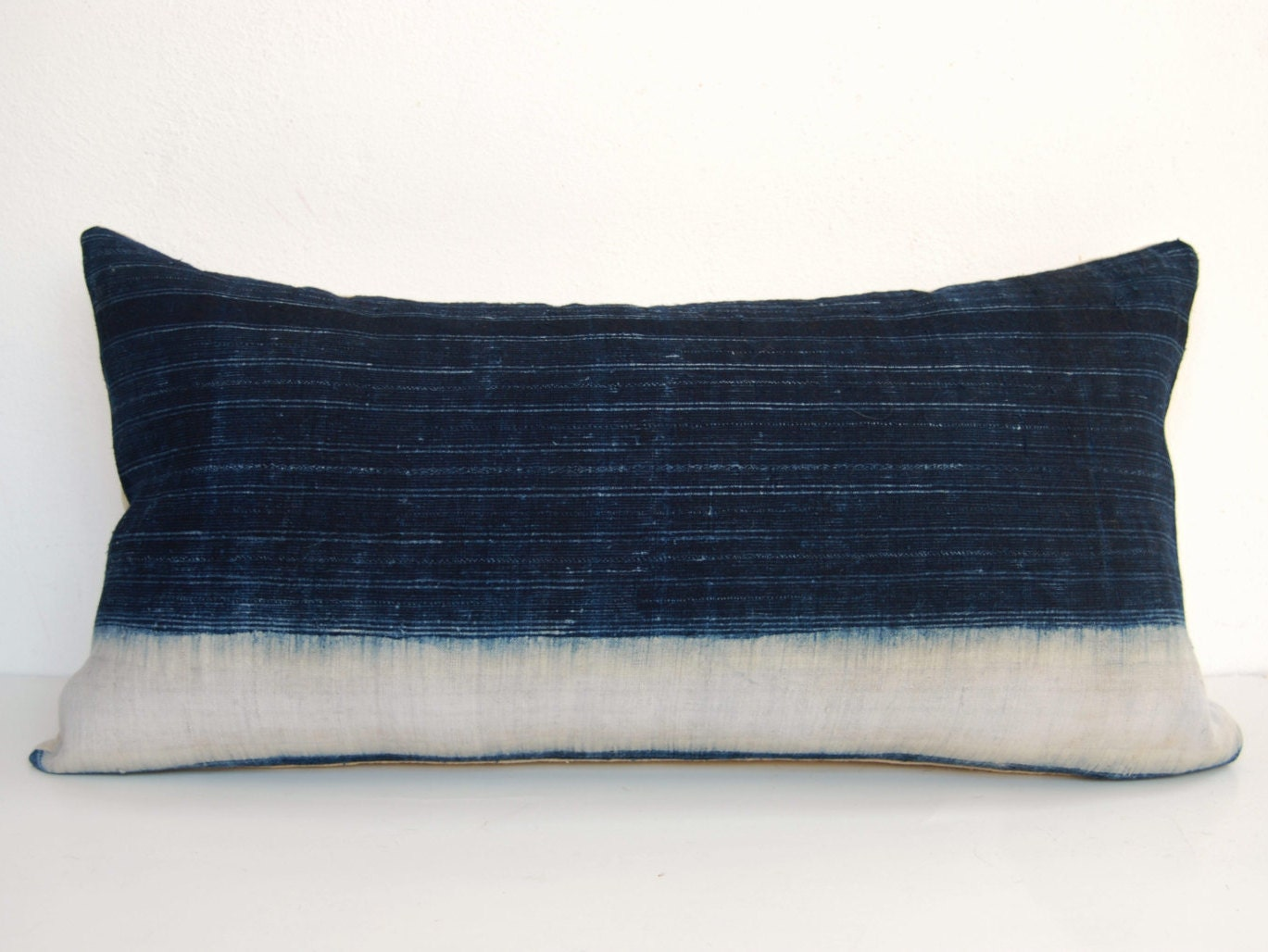Lumbar Pillow Hmong Pillow Cover Indigo Pillow Batik