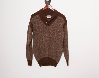 70s Cowl Neck Wool Sweater \\ 1970s Brown Sweater \\ Two Tone Long Sleeve Top \\ V Neck Sweater \\ Knit Sweater
