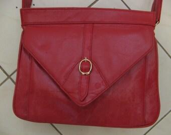Vntage 60s 70s Dark Red Leather Hand Shoulder Bag