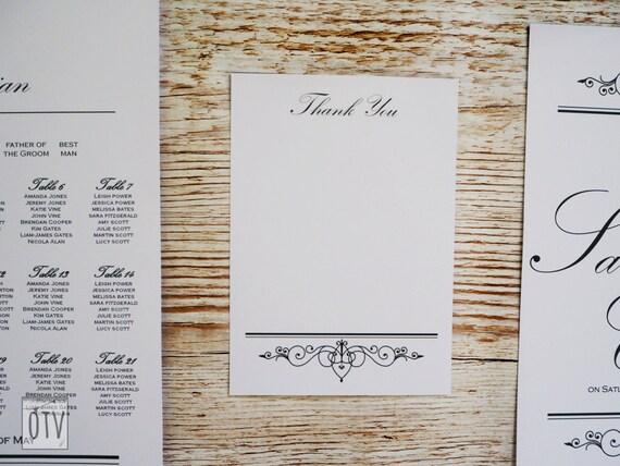 New** Black Tie - Elegant - Wedding - THANK You - Black - White - Sophisticated - Calligraphy - Printable - PDF - Digital - Instant Download