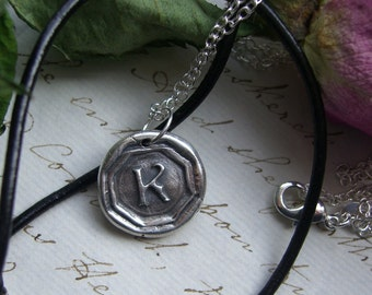 Initial K necklace -  wax seal necklace letter K - silver pendant - UK