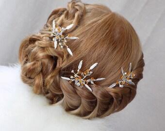 Silver Feather Hair Pin with Topaz Swarovski Crystal