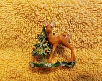 Vintage Deer with Christmas Tree Pin