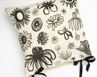 Handmade Screen Printed Flower Cushion Cover