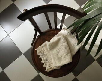 Terry cotton towel with crochet border, italian decor, vintage style bathroom decor, cotton bath towel, house warming gift, shower hostess