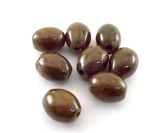 8 Brown Oval Ceramic Porcelain Beads - Raku Ceramic Beads - Oval Beads - Small Beads - Ceramic Beads - Porcelain Beads - Brown Beads