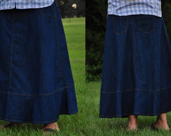 Ladies Long Modest Flared Edge Blue Jean/Denim Skirt {Sizes 4, 6, 8, 10, 12, 14, 16, and 18}