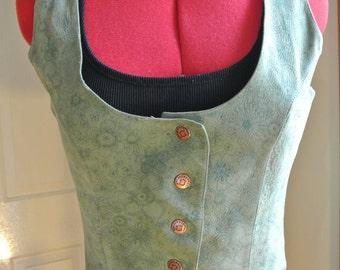 Vintage 80s Lime Green Leather Vest