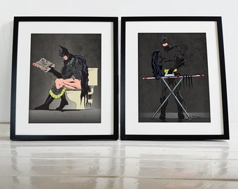 Batman on the Toilet and Batman Ironing Poster Wall Art Prints