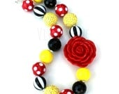 Chunky Necklace-Red Black Yellow-Bubblegum Jewelry-Theme Park Jewelry-Mouse Inspired Necklace-Princess Dress Up-Girl's Birthday Party