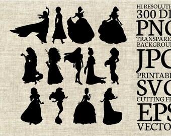 Disney Princesses Silhouette SVG Cut File, Digital Clipart, Editable Vector