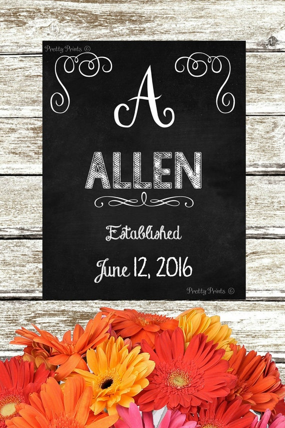 Personalized Family Name - Chalkboard Art - Digital Print - Initial Monogram