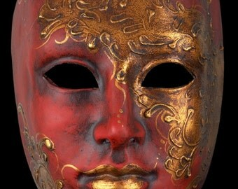 Venetian Mask Red Face with Gold
