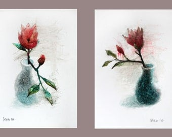 Floral Painting, Set of 2 Flower Paintings. Red Flower Wall Art. Set of 2 Watercolor Paintings, Floral Home Decor. FREE SHIPPING!