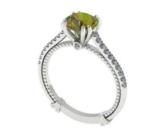 Engagement Rings, Wedding Ring, Diamond Ring, Perfect Wedding Ring, Green Natural Tourmaline Engagement Ring,  Diamond Alternative Rings