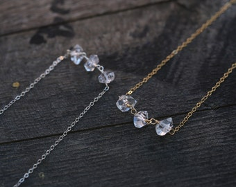 Herkimer Diamond Necklace, Tiny Dainty Delicate Necklace, Gold Filled Sterling Silver Necklace, Raw Crystal Necklace, Everyday Necklace