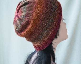 Knit Women's hat men hat beanie wool Multicolored hat Knitting Hat slouchy hat womens, hat for women