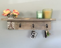 Rustic Key Holder, Mason Jar, Shelf, Gray Shelf, Emerald Shelf, Green Shelf, flower key shelf, Wall decor, coat hanger, Entryway, Distressed