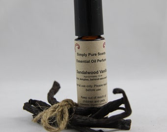 Essential oil perfume - Sandalwood Vanilla Essential oil Fragrance -  Roll on Fragrance - All natural oil perfume  - Roll on Perfume
