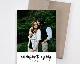 Happy Holidays Minimalist Photo Card // Comfort and Joy