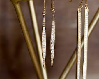 14k gold diamond drop earrings, pave diamond dangle earrings, diamond crescent earrings, yellow gold, rose gold, white gold. cre-e102-33mm