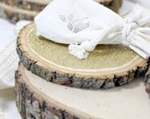 """6"""" Gold Glitter Tree Stump Slice for Vintage and Rustic Celebrations"""