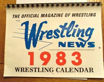 1983 Wrestling News Calendar - Hulk Hogan Andre Ric Flair Junkyard Dog  WWF WWE Vintage  Unused