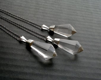 Clear Quartz Necklace Crystal Necklace Quartz Pendant Silver Dipped Quartz Crystal Clear Quartz Jewelry Crystal Point Boho Stone Jewelry