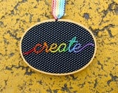 Create Polka Dot Hand Embroidered Hoop Art. Handmade 3.5x5 inch Embroidery Hoop. Rainbow Art. Craft Room Decor. Ready to ship gifts under 25