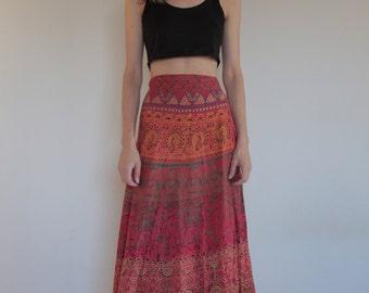 70's Indian cotton wrap around maxi skirt/ boho/ hippy/ festival