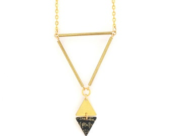 Hand made | Necklace gold geometric triangles tubes and diamond pattern geek