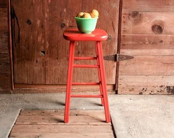 Vintage Wood Stool, Orange Chair, Boho Stool, Rustic Modern Bar Stool, Wood Bar Stool, Plant Stand Wood, Farmhouse Stool, Kitchen Stool