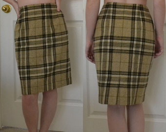 Plaid Wool Vintage Pencil Skirt High Waisted / Size 4