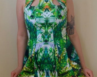 SALE! Marked down- Psy-trance trippy plants-printed constructed dress- S/M