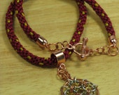 """Red Satin Neckace Chainmaille Pendant 16.25"""" Handwoven Satin Tri-Tone Caged Chainmail Helm Flower Copper Silver Gold (AR014G)"""