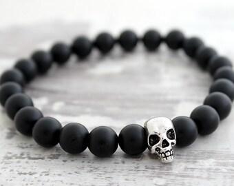 Mens Bracelet Skull Bracelet Black Onyx Bracelet Boyfriend Gift Mens Gift Mens Beaded Bracelet for Boyfriend Bracelet Gift
