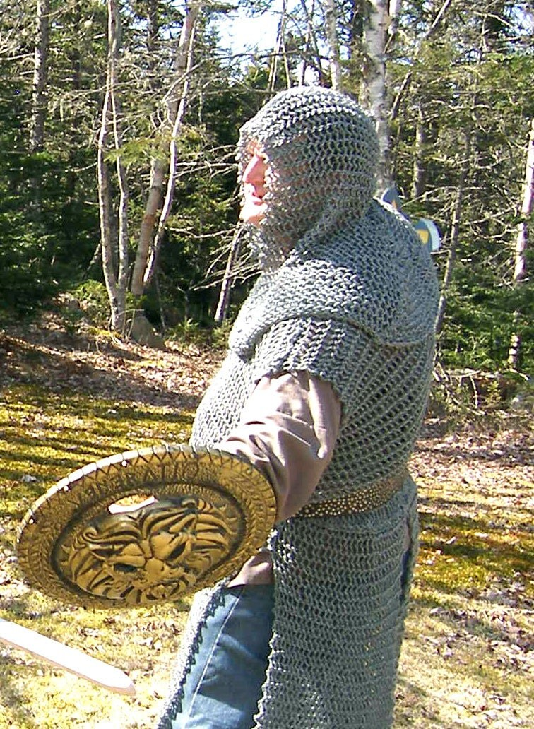 Faux chain mail hood a hand-knit coif with fitted cowl