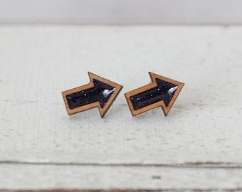 Wooden Arrow Earrings with Purple Glitter Fill/ Geometric Earrings/ Purple Studs/ Arrow Earrings/ Wood Earrings/ Hypoallergenic Earrings