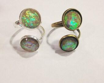 Gray Fire Opal Ring, Spectrolite Ring, Two Stone Ring, Adjustable Ring, Reversible Fire Opal Ring, Labradorite Ring, Fire Opal Jewelry
