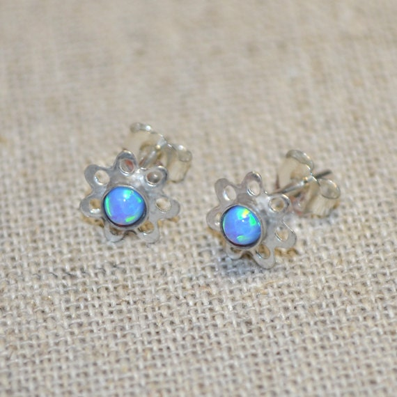 3mm Blue Opal Stud Earrings Silver - Earring Posts - Ear Studs - Cartilage Piercing - Helix Stud - Cartilage Stud - Simple Post Earings