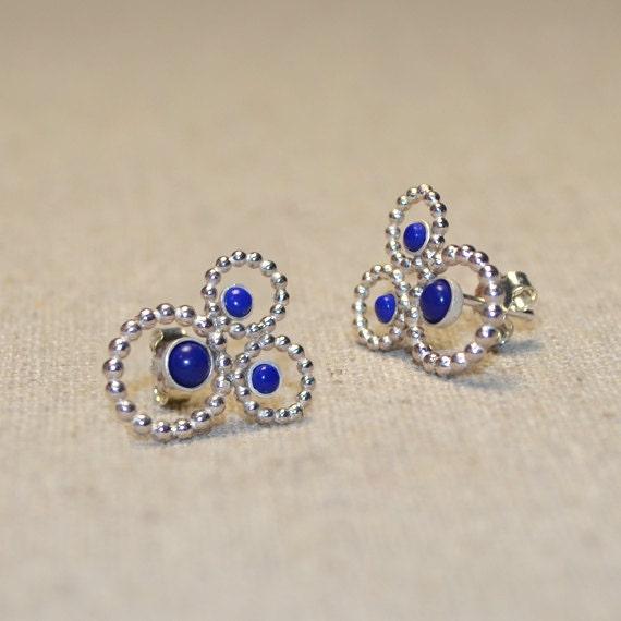 Silver Stud Earrings - 2mm and 3mm Lapis Post Earrings - Ear Lobe Jewelry - Cartilage Earring - 20 Gauge Helix Piercing - Conch Earring