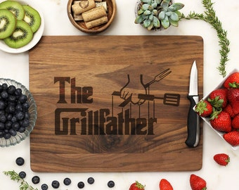 The Grillfather, Personalized Cutting board, Fathers Day Grill Board, Dads BBQ, Grill Master, Engraved Walnut  --21158-CUTB-002