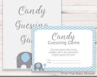 Baby Shower Games - Candy Guessing Game - Blue Elephant Baby Shower - Elephant Shower Games - Guess how many Candies - Blue Elephant