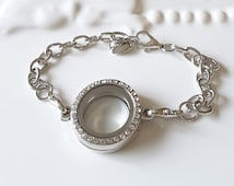 Silver Crystal Charm Locket-Charm Bracelet-Locket Bracelet-Floating Charm Bracelet-DIY Jewelry-Gift For Her-Accessories-Celestial Luxuries