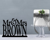 Mr and Mrs Table Sign, Mr and Mrs Table Stand, Wedding name table sign, custom table sign, large mr and mrs name sign (S198)