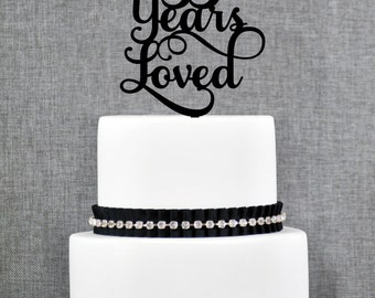 35 Years Loved Birthday Cake Topper, Elegant 35th Anniversary Cake Topper, 35th Cake Topper- (T245-35)