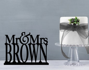 "Mr and Mrs Table Sign, Mr and Mrs Table Stand, Wedding name table sign, custom table sign, large mr and mrs name sign 6"" (T198-6)"